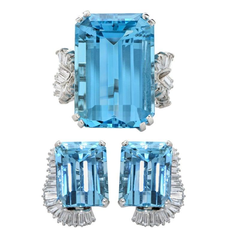 Boucheron Paris Midcentury Aquamarine and Diamond Earrings and Ring Set For Sale 4