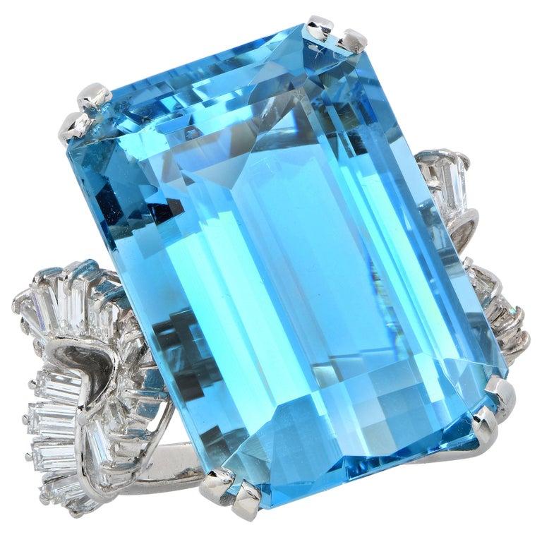 Emerald Cut Boucheron Paris Midcentury Aquamarine and Diamond Earrings and Ring Set For Sale