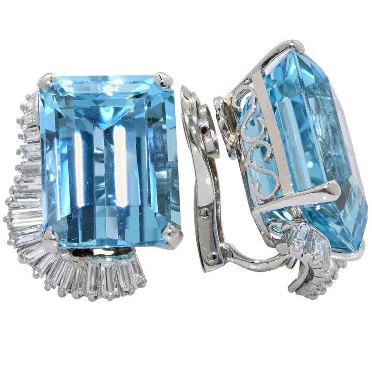 Boucheron Paris Midcentury Aquamarine and Diamond Earrings and Ring Set For Sale 1