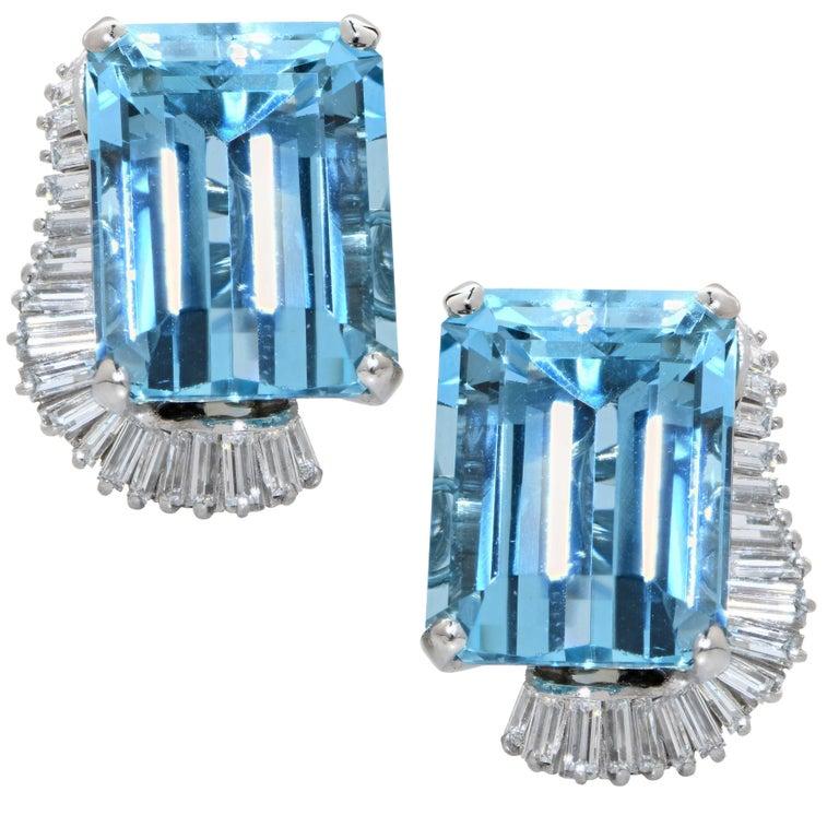 Boucheron Paris Midcentury Aquamarine and Diamond Earrings and Ring Set For Sale 2