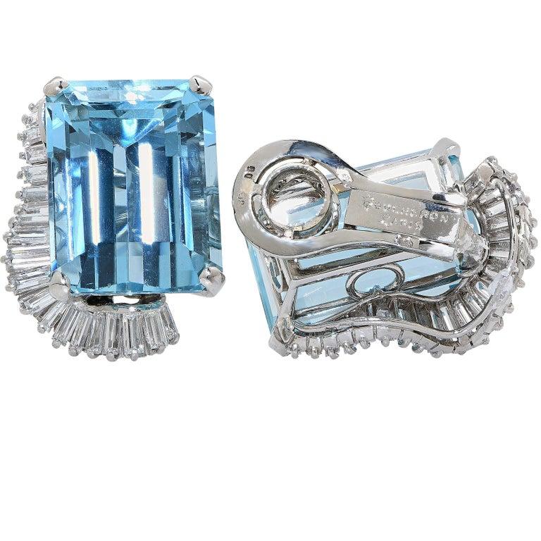 Boucheron Paris Midcentury Aquamarine and Diamond Earrings and Ring Set For Sale 3