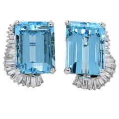 Boucheron Paris Midcentury Aquamarine and Diamond Ring, Brooch and Earrings