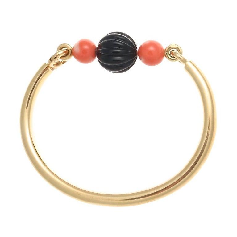 Contemporary Boucheron Paris Onyx Coral Gold Bracelet For Sale
