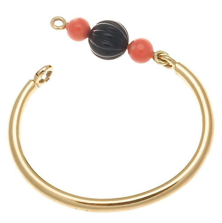 Boucheron Paris Onyx Coral Gold Bracelet In Excellent Condition For Sale In Beverly Hills, CA