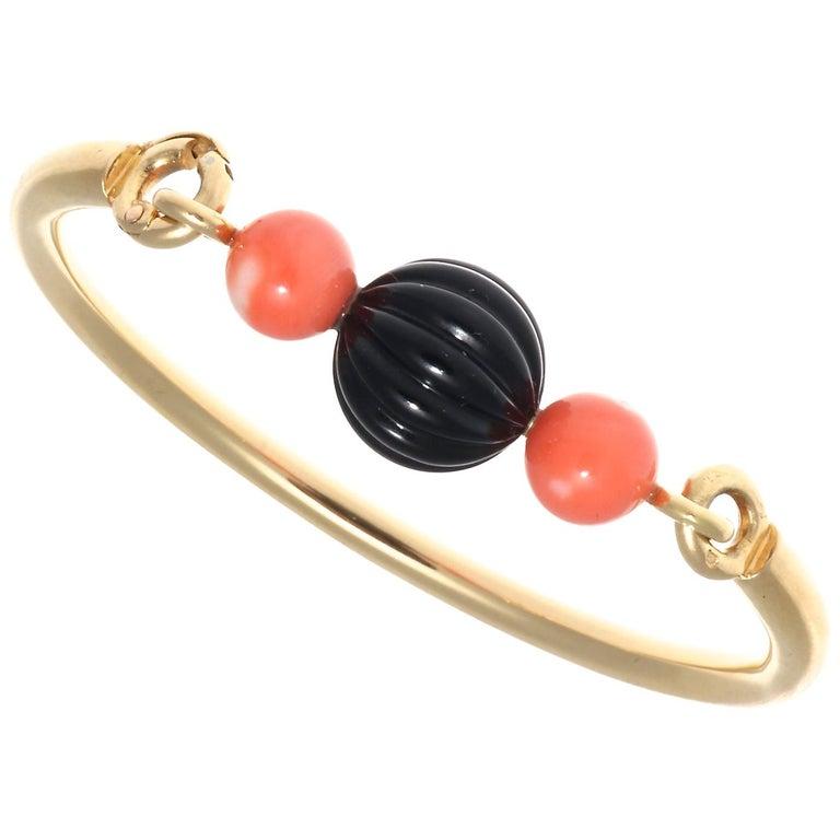 Boucheron Paris Onyx Coral Gold Bracelet For Sale