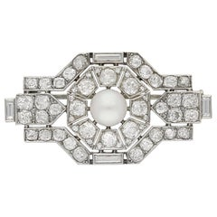 Boucheron Paris Pearl and Diamond Brooch, French, circa 1920