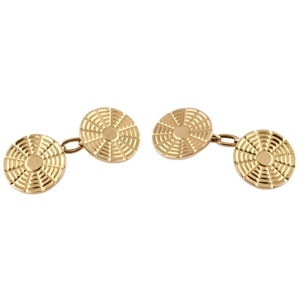 Boucheron Paris Retro 18 Karat Gold Cufflinks