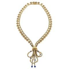 Boucheron Paris Retro Sapphire and Gold Necklace