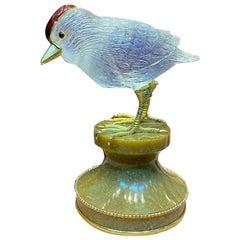 Boucheron Paris Rock Crystal Gold and Enamel Bird Desk Object