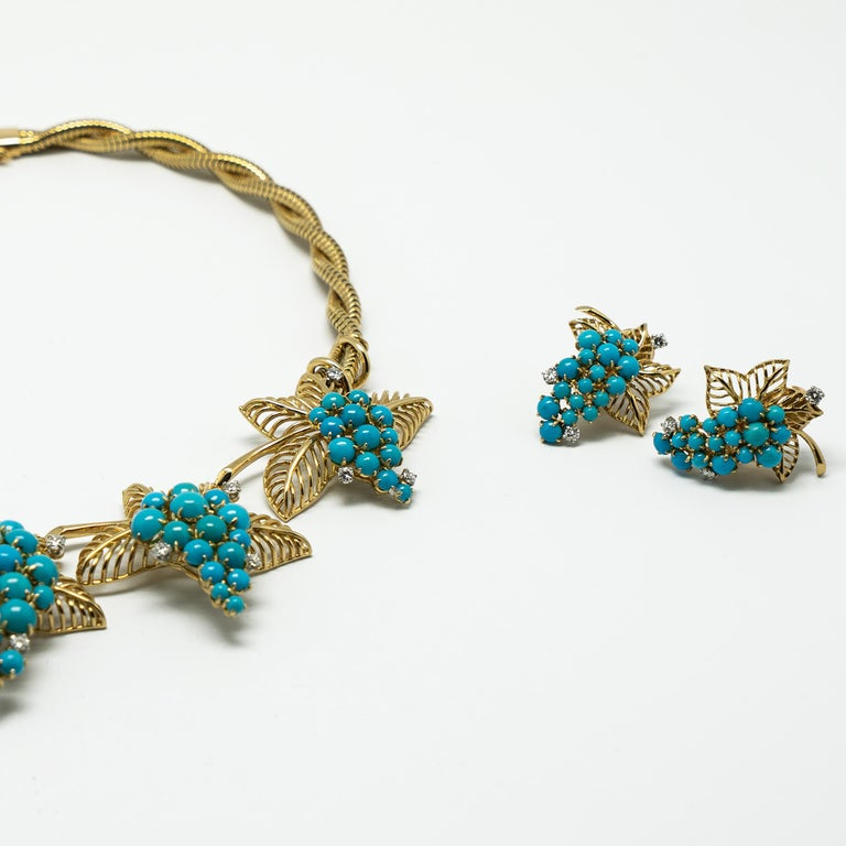 Boucheron Paris Turquoise Diamond Gold Necklace Earrings Set, 1950s In Good Condition For Sale In Beziers, FR
