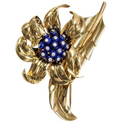 Boucheron Paris Vintage 1940s Diamond & Lapis Lazuli Gold Feather Flower Brooch