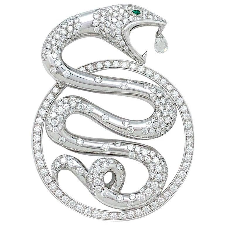 "Boucheron Pendant, ""Trouble"" Collection, Diamonds and Emeralds For Sale"
