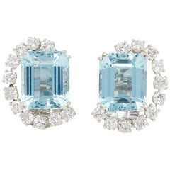Boucheron Platinum Aquamarine and Round Cut Diamond 1930s Vintage Earrings