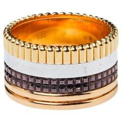 Boucheron Quatre Classique 18K Three Tone Gold Large Ring Size 54
