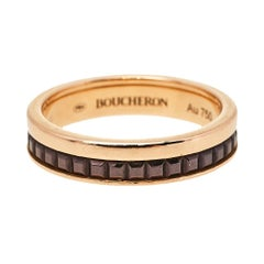 Boucheron Quatre Classique Brown PVD 18K Rose Gold Wedding Band Ring Size 48