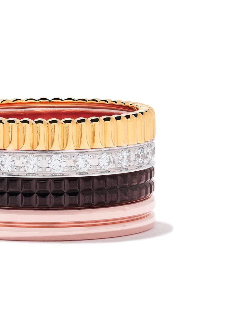 Band ring set with pavé diamonds, in yellow, white, pink gold and brown PVD.  ring size 50 total 0.51 ct of diamonds  This ring comes beautifully packaged in its Boucheron presentation box with a certificate of authenticity.  Boucheron, the first