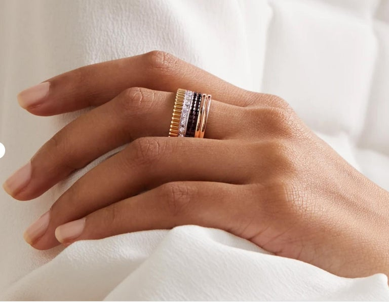 Modern Boucheron Quatre Ring Large with Diamonds 18 Karat Gold Band Ring For Sale