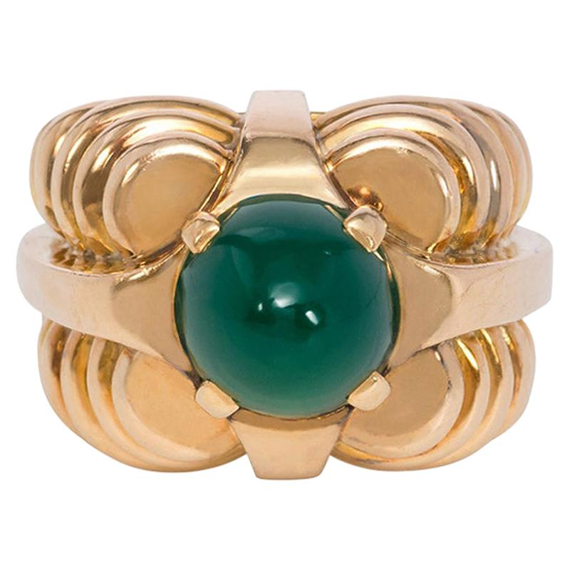 Boucheron Retro 1940s Rose Gold and Chrysoprase Cocktail Ring