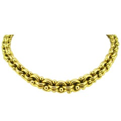 Boucheron Retro Double Link Beads Yellow Gold Graduated Link Necklace