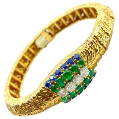 Boucheron Retro Emerald Diamond Sapphire Mystery Watch-Bracelet