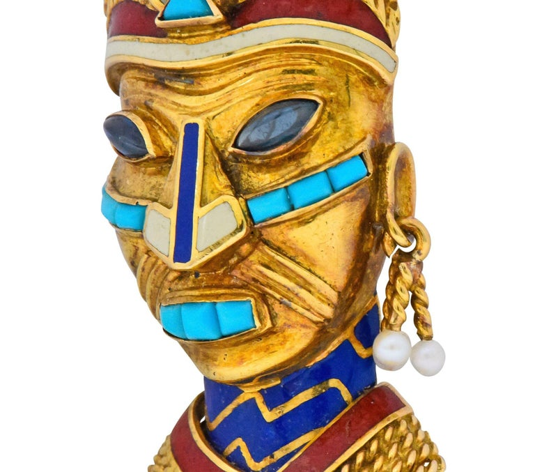 Boucheron Retro Enamel Turquoise Sapphire Seed Pearl 18 Karat Gold Mask Brooch In Excellent Condition For Sale In Philadelphia, PA