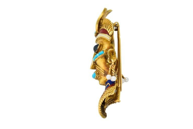 Boucheron Retro Enamel Turquoise Sapphire Seed Pearl 18 Karat Gold Mask Brooch For Sale 1