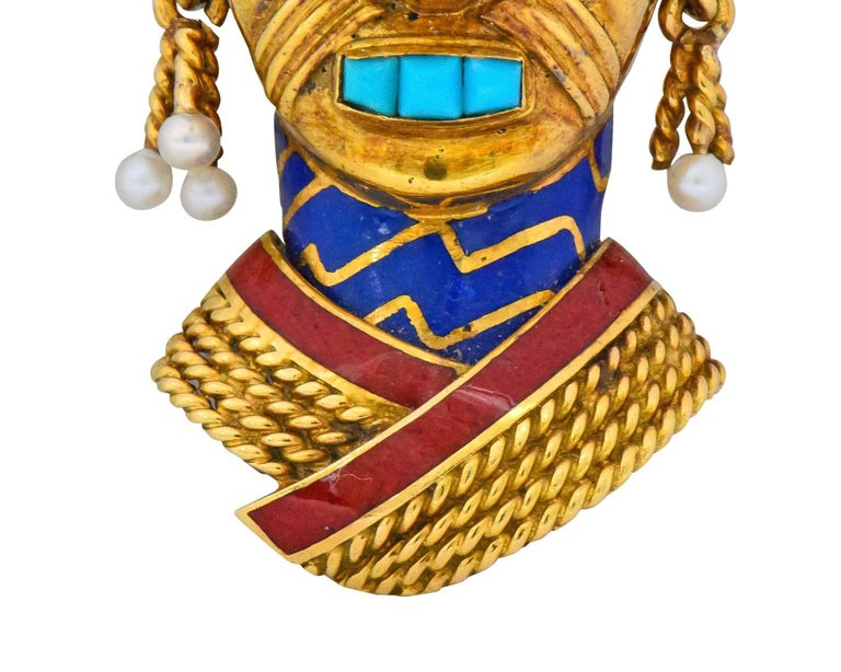 Boucheron Retro Enamel Turquoise Sapphire Seed Pearl 18 Karat Gold Mask Brooch For Sale 3