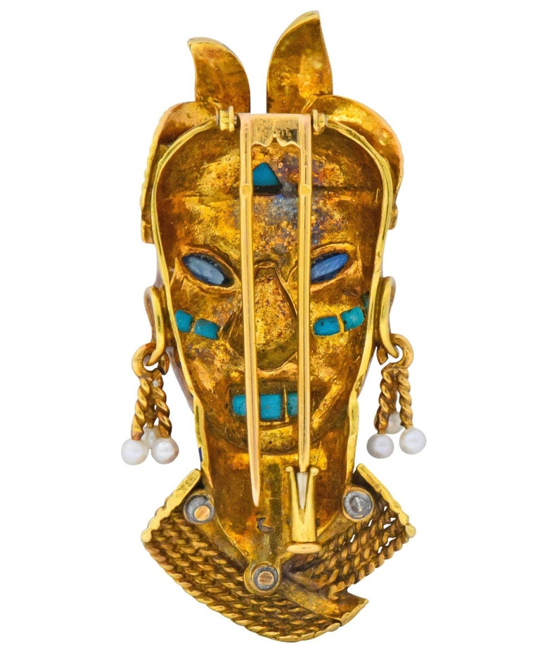 Boucheron Retro Enamel Turquoise Sapphire Seed Pearl 18 Karat Gold Mask Brooch For Sale 4
