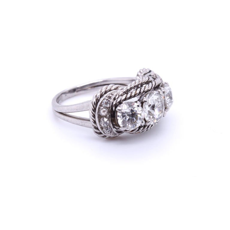 Women's Boucheron Retro Three-Stone Diamond Ring, circa 1940s For Sale