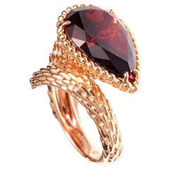 Boucheron Ring Rose Gold with Rhodolite Garnet from Serpent Boheme Collection