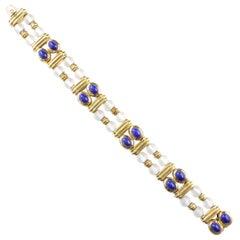 Boucheron Rock Crystal Lapis Gold Bracelet