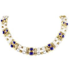 Boucheron Rock Crystal Lapis Gold Necklace