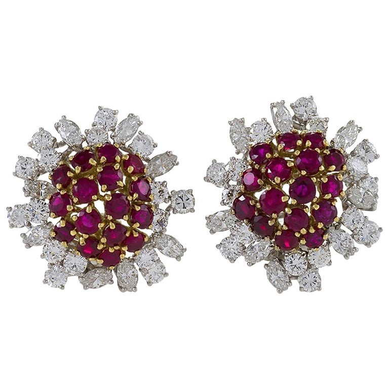 Boucheron Ruby and Diamond Earrings For Sale