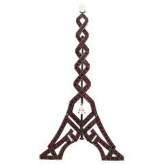 "Boucheron Ruby and Diamond on 18 Karat Gold and Rhodium ""Eiffel Tower"" Brooch"