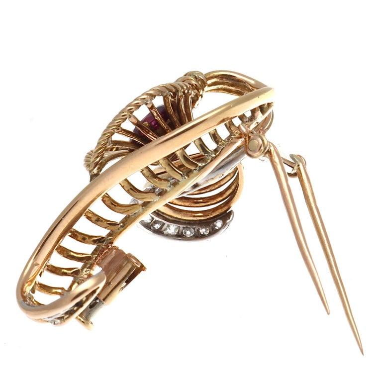Women's Boucheron Ruby Diamond Gold Brooch For Sale