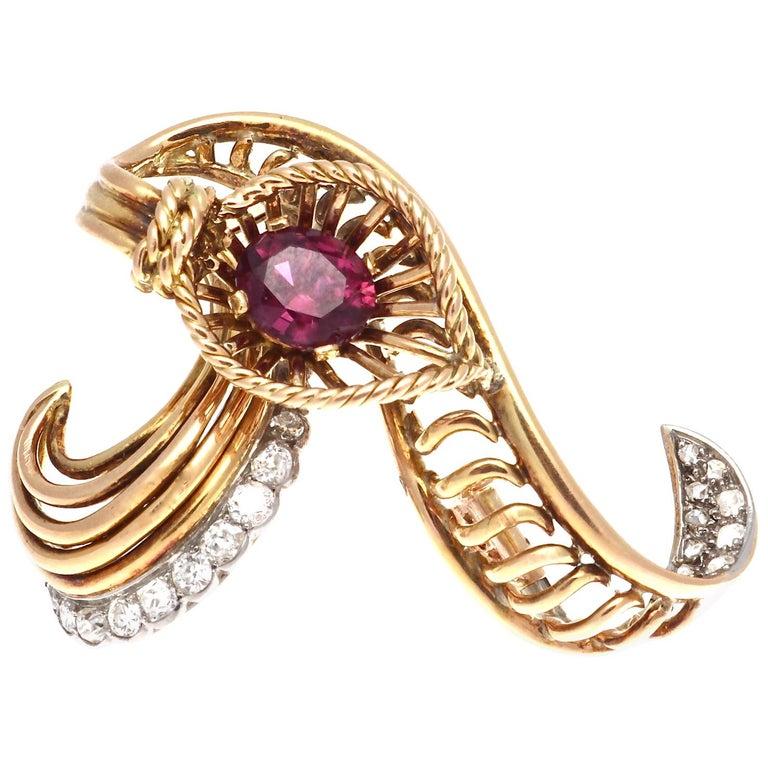 Boucheron Ruby Diamond Gold Brooch For Sale