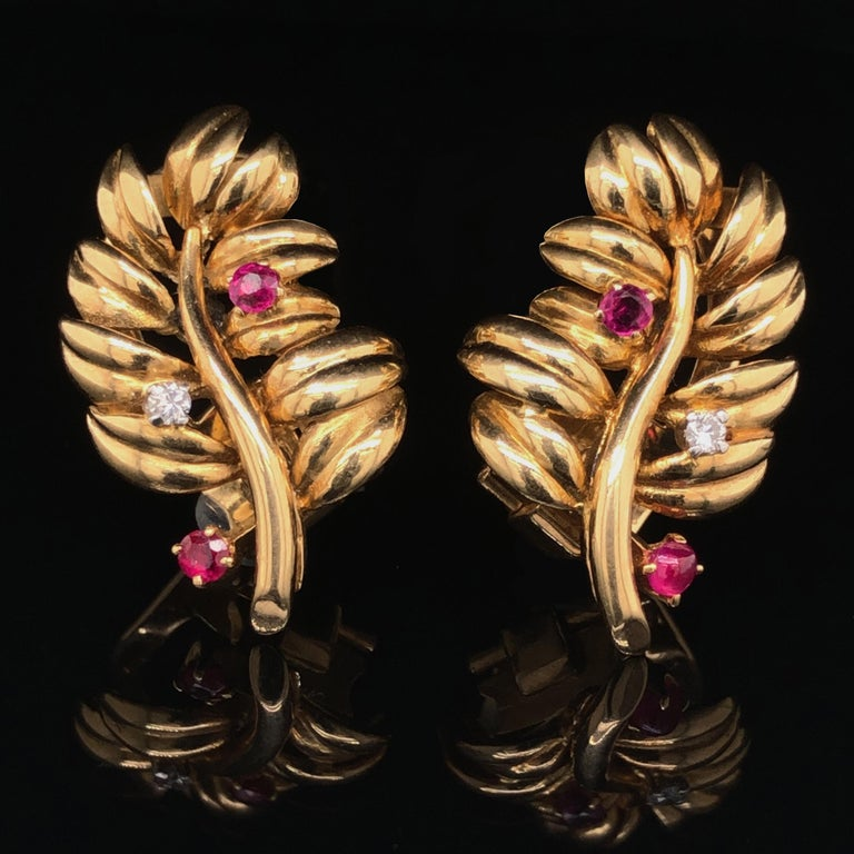 Round Cut Boucheron Ruby Diamond Leaf Earrings, 1960s For Sale