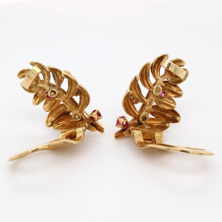 Women's Boucheron Ruby Diamond Leaf Earrings, 1960s For Sale