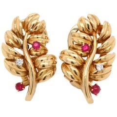 Boucheron Ruby Diamond Leaf Earrings, 1960s