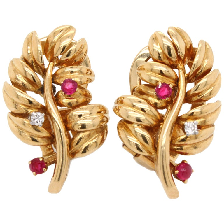 Boucheron Ruby Diamond Leaf Earrings, 1960s For Sale