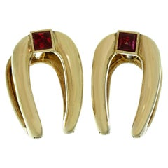 Boucheron Ruby Yellow Gold France 1940s Cufflinks