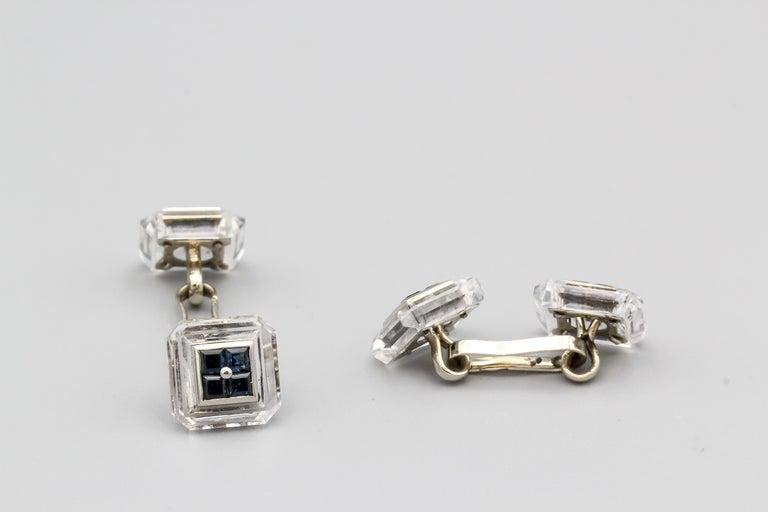 Square Cut Boucheron Sapphire Rock Crystal and 18 Karat Gold Cufflinks For Sale