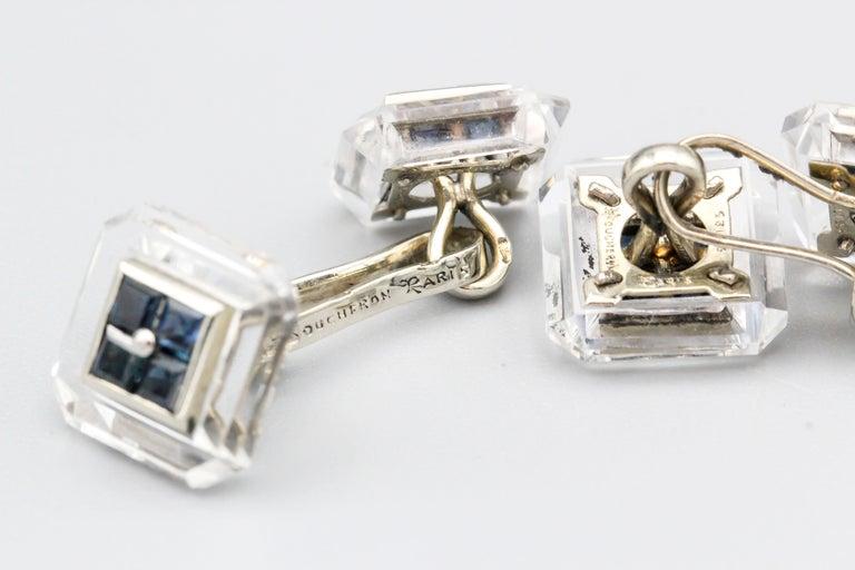 Men's Boucheron Sapphire Rock Crystal and 18 Karat Gold Cufflinks For Sale