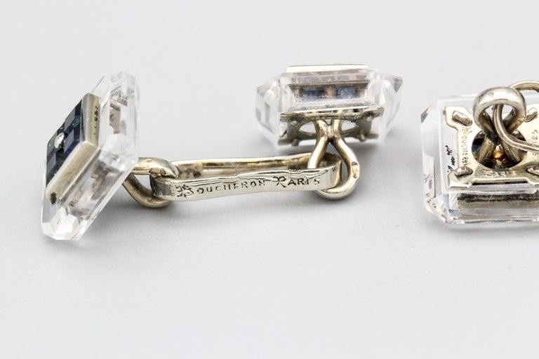 Boucheron Sapphire Rock Crystal and 18 Karat Gold Cufflinks For Sale 1