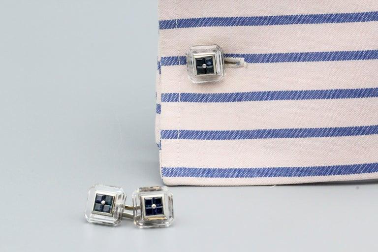Boucheron Sapphire Rock Crystal and 18 Karat Gold Cufflinks For Sale 2