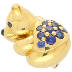 Boucheron Sapphire Teddy Bear Pin / Brooch Set in 18 Karat Yellow Gold