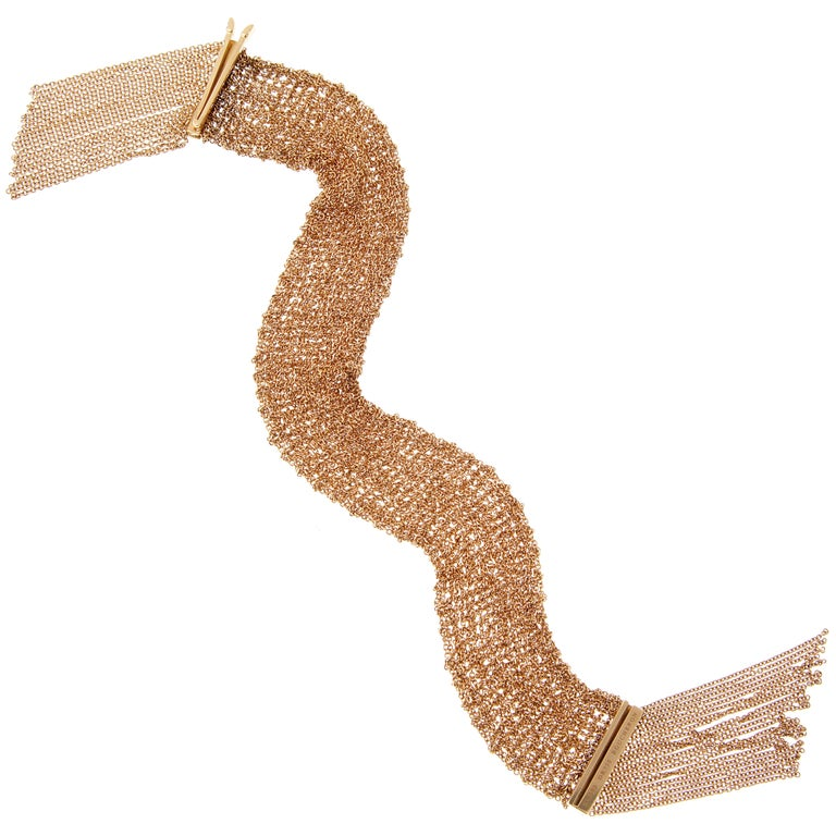 Boucheron Scarf Rose Gold Chain Link Bracelet In New Condition In Feasterville, PA
