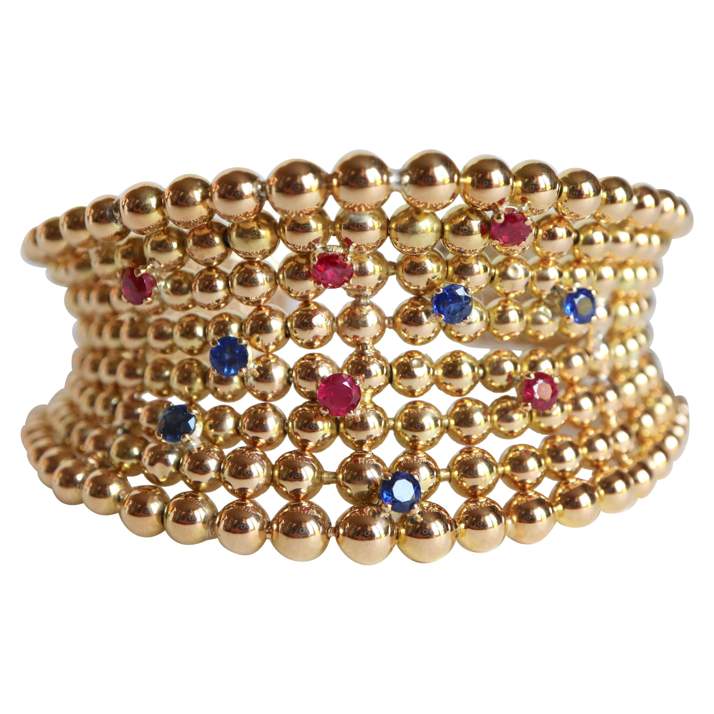 Boucheron Semi-Rigid Bracelet Balls in Yellow Gold 18 Carat Sapphires Rubies