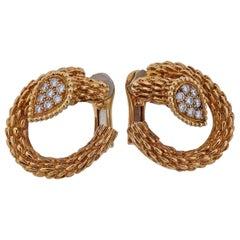 Boucheron Serpent Boheme Diamond Gold Earrings