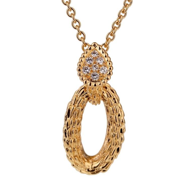 Boucheron Serpent Boheme Diamond Gold Necklace For Sale